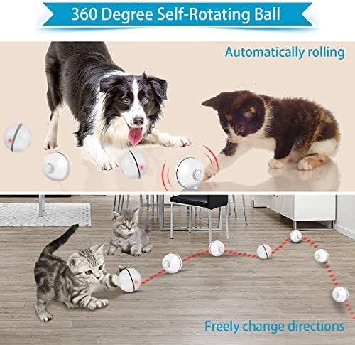 Feeko Cat Toys Interactive Smart Automatic Rolling Kitten Toys USB Rechargeable LED Light Electronic Cat Toy Ball Cat Exercise Chaser Toy for Your Kitty 6