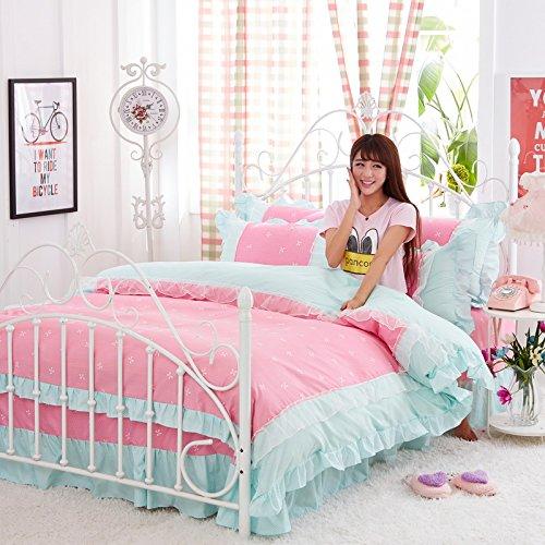 KFZ Bed Set Princess Style Lycra Cotton Lace 4pcs Bedding Flat Sheet Duvet Cover Pillowcases HT Queen Sheets Set No Comforter Rainbow Pink Modern Designs Girls (Rosette Love,Pink, Queen,78''x90)