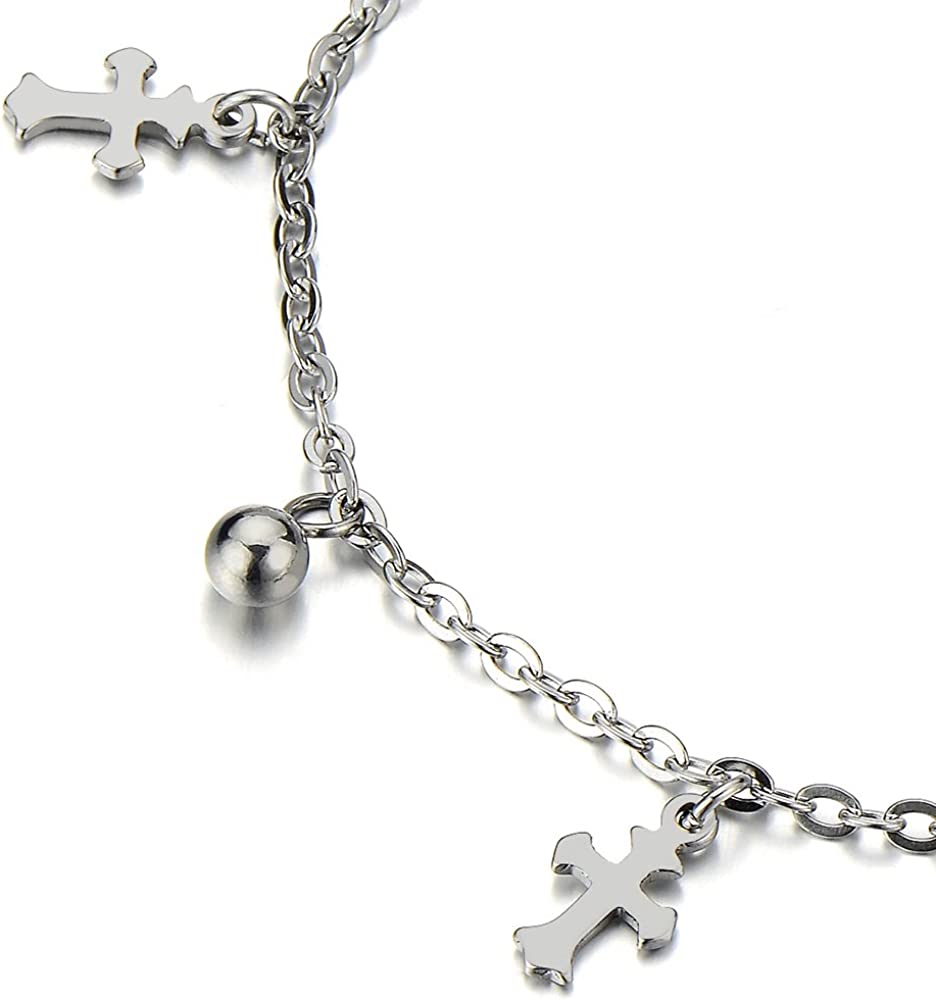Stainless Steel Anklet Bracelet with Dangling Charms of Crosses and Beads