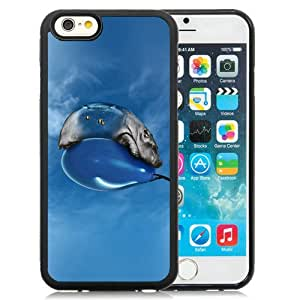 iPhone 6 Cover Case,Hippo Bored Ballon Sky Blue Art Illust Animal Black Personalized Cool Design iPhone 6 4.7 Inch TPU Case