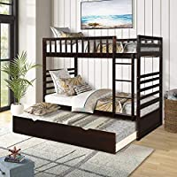 Twin Over Twin Bed Bunk Beds with Trundle, Safety Rail Twin Bunk Beds for Kids