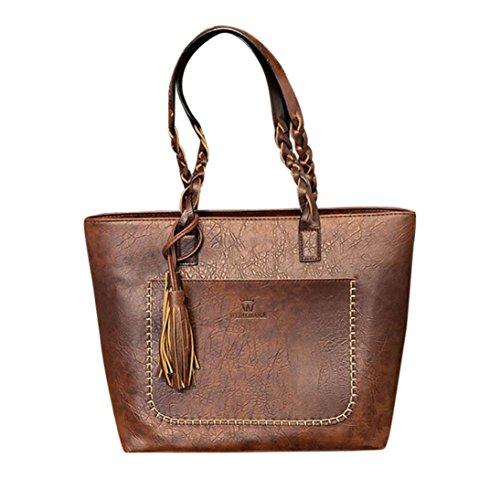 Remiel Store Women'S Vintage PU Leather Braided Weaving Tassel Large Handbag Shoulder Tote Bags (43cmx31x13cm, (Braided Shoulder Tote)