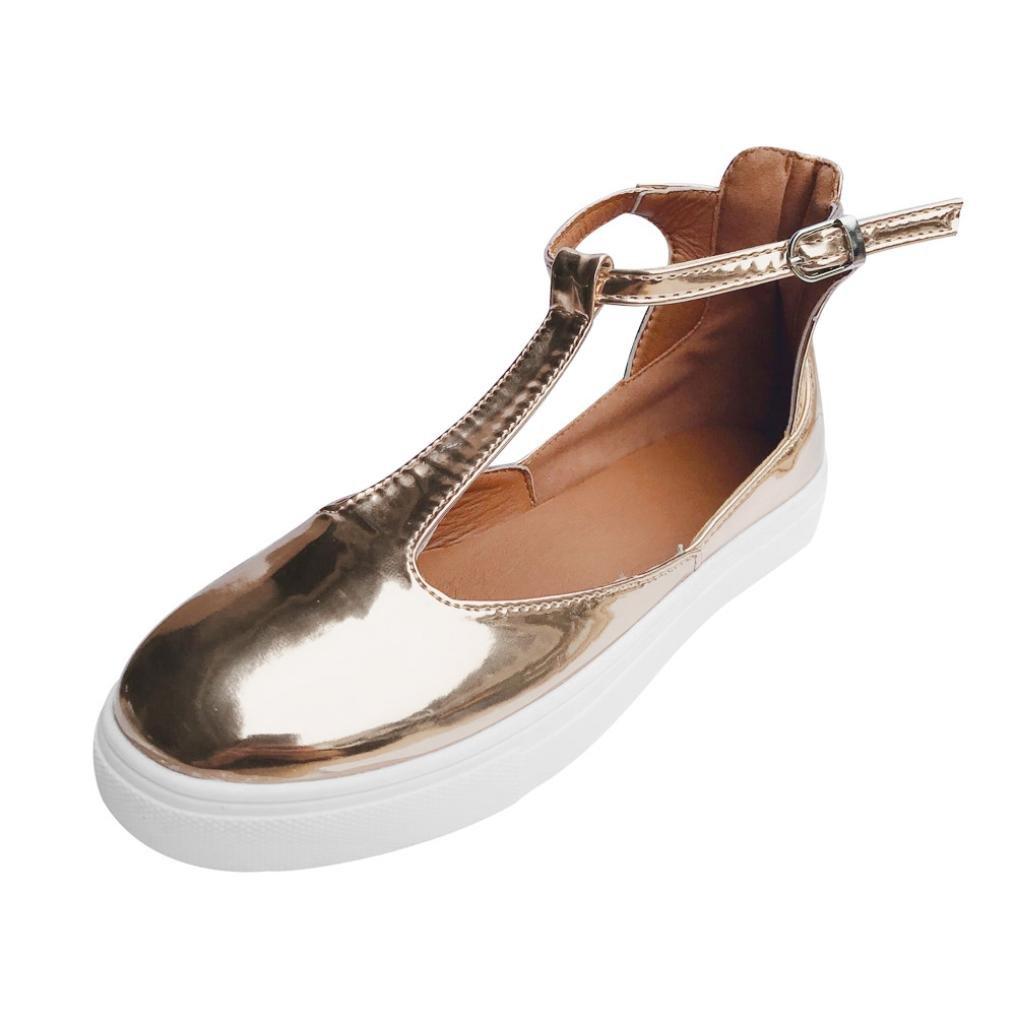 JIANGfu Femme Sandales Été Chaussures Plat Femmes Vintage Dehors Chaussures Rondes Orteil Plate-Forme Talon Plat Boucle Sangle Chaussures Casual Rome Pantoufles 8