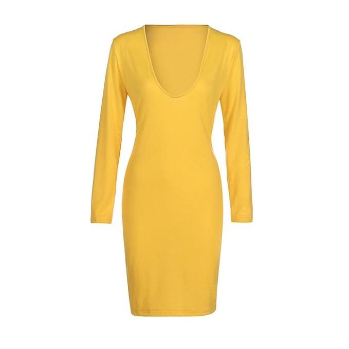 a2244007f863 Kleider Damen Dasongff Damen Schlankes Bleistiftkleid Langärmliges  Figurbetontes Kleid mit V-Ausschnitt, Tief Ausgeschnittenes