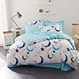 WarmGo Home Textile Bedding Sets for Adult Kids 100% Cotton Sky Star Moon Pattern Duver Cover Set Full Queen Size 4 Piece - Not Include Comforter