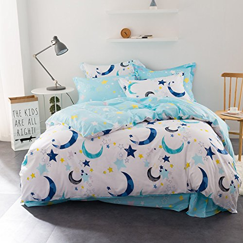 WarmGo Home Textile Bedding Sets for Adult Kids 100% Cotton Sky Star Moon Pattern Duver Cover Set Full Queen Size 4 Piece - Not Include Comforter by WarmGo
