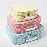Sass & Belle Set of 3 Moroccan Geometrics Blue Pink Yellow Suitcases Storage Boxes