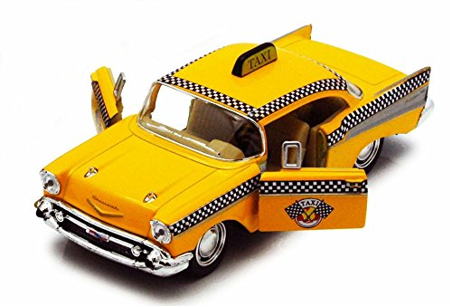 Taxi Diecast Car (1957 Chevy Bel Air Taxi Cab, Yellow - Kinsmart 5360D - 1/40 scale Diecast Model Toy Car)