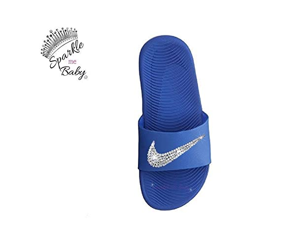 a4a6e04b4 Image Unavailable. Image not available for. Color  Nike Slide Kawa Kids  Blue Swarovski Bling Nike Sandals Customized ...