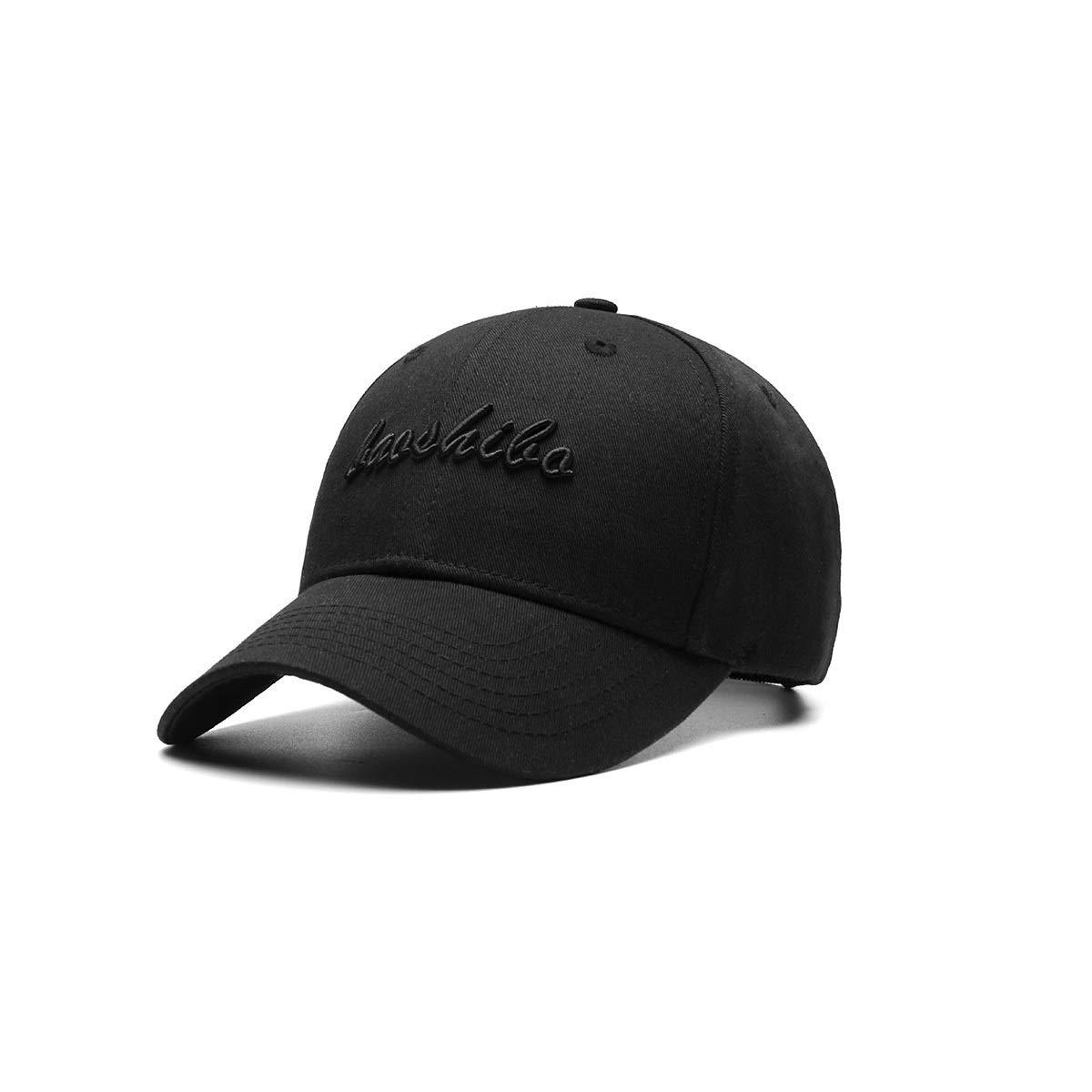 Zhongyue Hat Male Summer Korean Big Head Baseball Cap Black Cap Male Hard Top Large Size Sunhat, Black, White, Red Summer hat (Color : Letter Black)