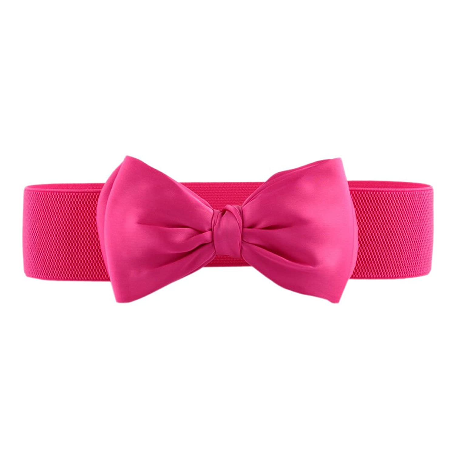 Mlotus Teen Girls Wide Satin Bow Buckle Womens Elastic Waist Belt Cinch Belts