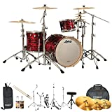 Ludwig USA Keystone (JF-LK7243KXTQRP-KIT-16) 3-Pc Drum Shell Pack  with Zildjian Cymbals, Hardware, & Accessories, Red Oyster