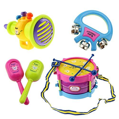 Horn Instruments Girl (lightclub 7Pcs Tambourine Hand Bell Drum Maraca Horn Musical Instrument Education Kids Toy Novelty and Funny Toy for Baby Boy Girl Random Color)