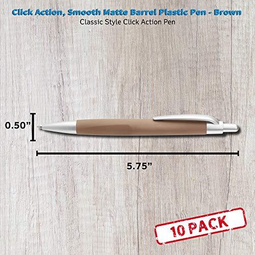 Atlas Click Action Plastic Pens - 10 Pack - Brown