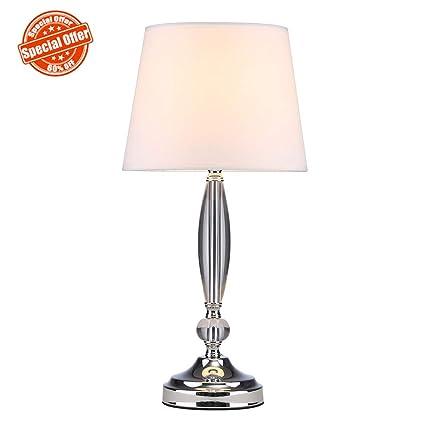 SOTTAE Modern Fashionable Clear Crystal Base Bedroom Living Room Bedside Table  Lamp, Desk Lamp With