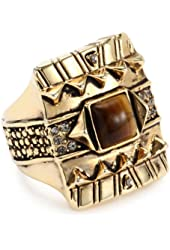 House of Harlow 1960 Gold-Plated Cushion Cocktail Ring with Tiger Eye Stone, Size