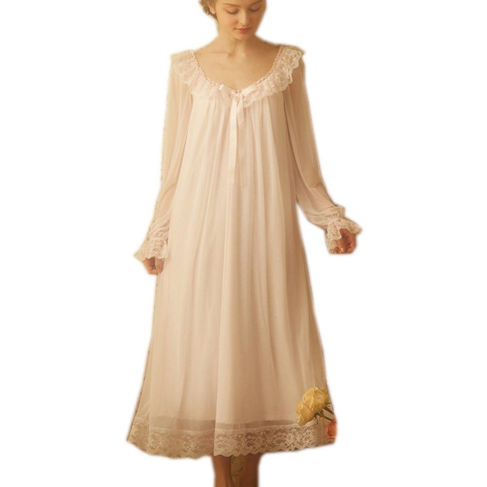 Singingqueen Women's Victorian Nightgown Long Sheer Vintage Nightdress Lace Lounge Sleepwear Mesh Cotton Pajamas (Pink, Medium)