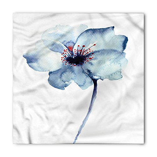 Watercolor Bandana by Ambesonne, Artistic Design of a Spring Flower with Blue Tones Birth of Life Theme Print, Printed Unisex Bandana Head and Neck Tie Scarf Headband, 22 X 22 Inches, Pale (Watercolor Birth Print)