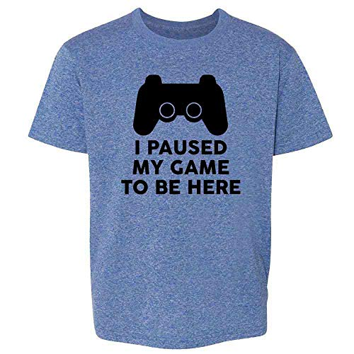 I Paused My Game to Be Here PS Controller Gamer Heather Royal Blue L Youth Kids Girl Boy T-Shirt (Year Ideas 14 Old Christmas Boy Gift)