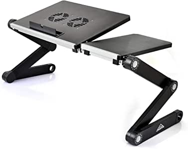 ARETE Laptop Desk/Stand/Table, Portable Folding Computer Table with CPU Cooling Fans and USB Cable, Adjustable Laptop Desk with Mouse Pad Side Mount, Bed/Sofa/Office Laptop Tray