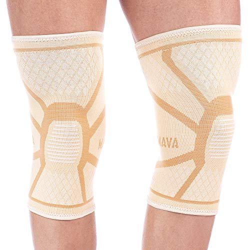 (Mava Sports Knee Compression Sleeve Support (Nude/Skin, Medium))