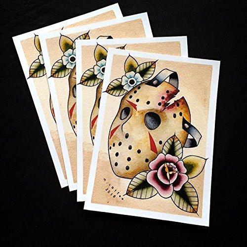 Jason Mask Horror Halloween Tattoo Flash Print by Michelle Coffee]()