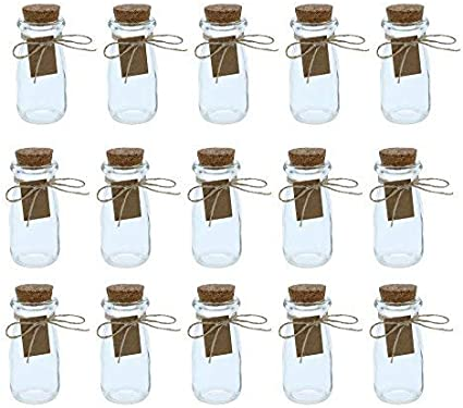 Botellas de cristal transparente con tapas de corcho, 15 unidades, mini tarros de leche transparentes con tapones para decoración de boda vintage, bricolaje, hogar, regalos de fiesta, 2,7 onzas