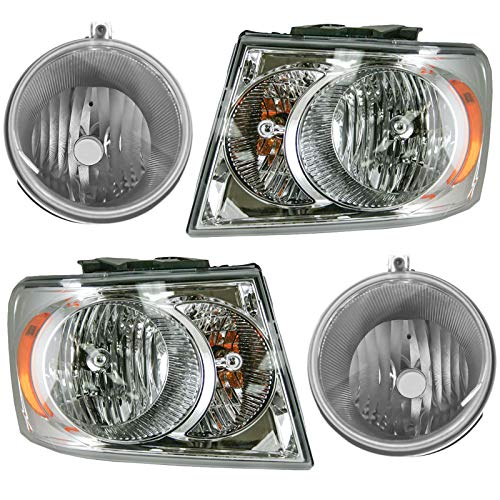 - Headlight Fog Driving Light Lamp Kit LH RH Set of 4 for 07-09 Dodge Durango SUV