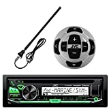 JVC KD-R97MBS In-Dash Marine Boat Yacht Bluetooth Radio USB Stereo Receiver CD Player Bundle Combo