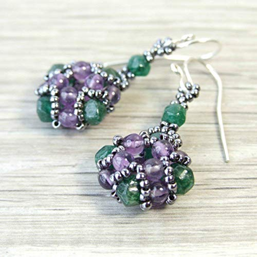 (Amethyst and Emerald Green Aventurine Natural Stone Beaded Dangle Drop Small Earrings - Handmade Sterling Silver Boho Vintage Style Genuine Gemstone Jewelry for Women Gifts)