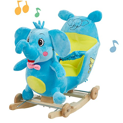 Lucky Tree Rocking Horse Toy Elephant Animal Rocker On 2 in 1 Wooded Plush Rocking Chair for Child Boys & Girls