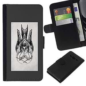 KLONGSHOP // Tirón de la caja Cartera de cuero con ranuras para tarjetas - dibujo boceto gris lápiz de tinta negro - Samsung Galaxy A3 //