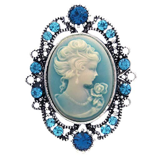 Soulbreezecollection Cameo Brooch Pin Charm Women Necklace Pendant Compatible Rhinestones Fashion Jewelry (Aqua)