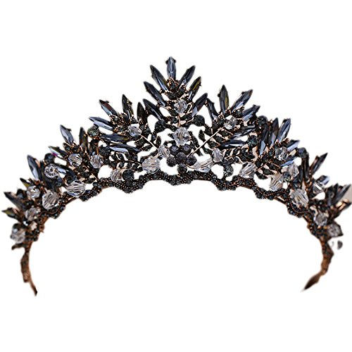 Black Crystal Beads Bridal Tiaras Rhinestone Diadem Pageant Crown for Brides Headbands Wedding Hair Accessories ()