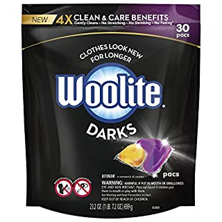 Woolite Darks Pacs, Laundry Detergent Pacs, 30 Count, for Standard and HE Washers, detergent for black clothes, black detergent, dark laundry detergent