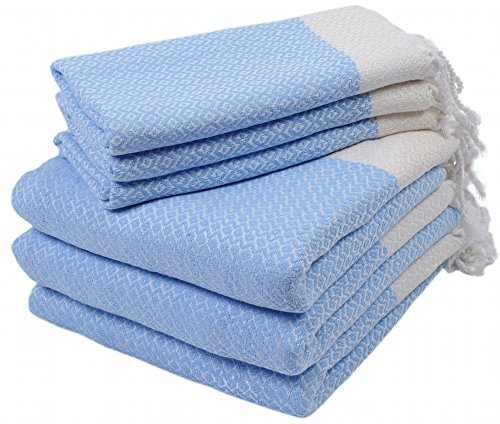 Set of 6 Turkish Cotton Bath Beach Spa Sauna Hammam Yoga Gym Hamam Hand Towel Fouta Peshtemal Pestemal Blanket - 6 Blue (Set Accesory)