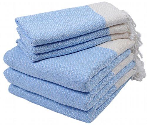 Set of 6 Turkish Cotton Bath Beach Spa Sauna Hammam Yoga Gym Hamam Hand Towel Fouta Peshtemal Pestemal Blanket - 6 Blue (Accesory Set)
