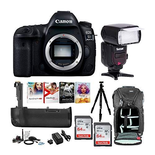 (Canon EOS 5D Mark IV Digital SLR Camera Bundle (Body Only) + Professional Accessory Bundle w/Zoom Intelligent TTL Flash & Double 64GB SD Card + 62 Inch Proline Tripod + Spare Battery + Advanced Kit)