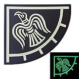 LEGEEON Glow Dark Rare Norse Viking Raven Banner Odin God War Morale PVC Rubber 3D Touch Fastener Patch