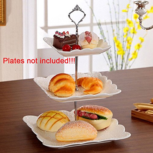 3 Tier Cake Fruit Food Plate Stand Zinc Alloy Cupcake Stand Round Serving Tray Platters Fitting Hardware Tool for Weddings, Tea Party, Holiday Dinners,Birthday Parties(Silver) by YOTHG (Image #4)