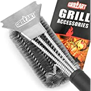 """#LightningDeal GRILLART Grill Brush and Scraper Best BBQ Brush for Grill, Safe 18"""" Stainless Steel Woven Wire 3 in 1 Bristles Grill Cleaning Brush"""