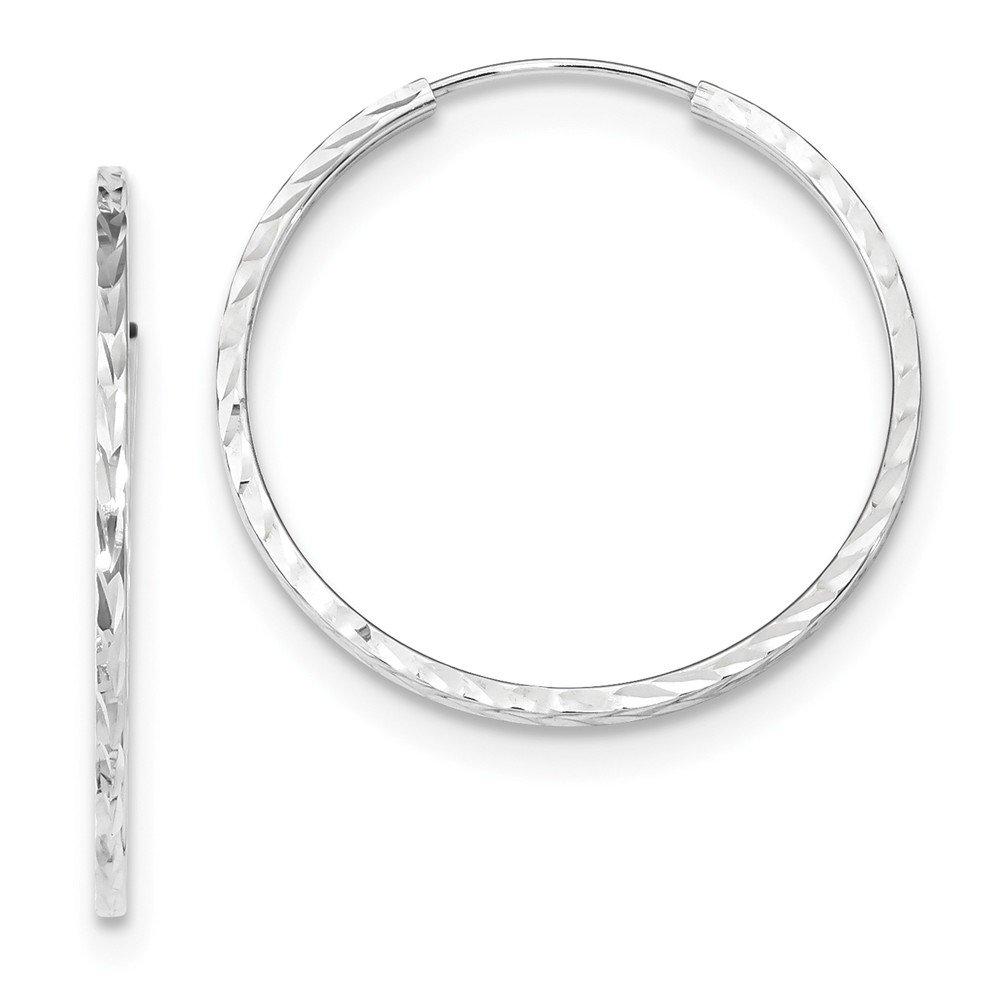 Mia Diamonds 14k White Gold Diamond-cut Square Tube Endless Hoop Earrings