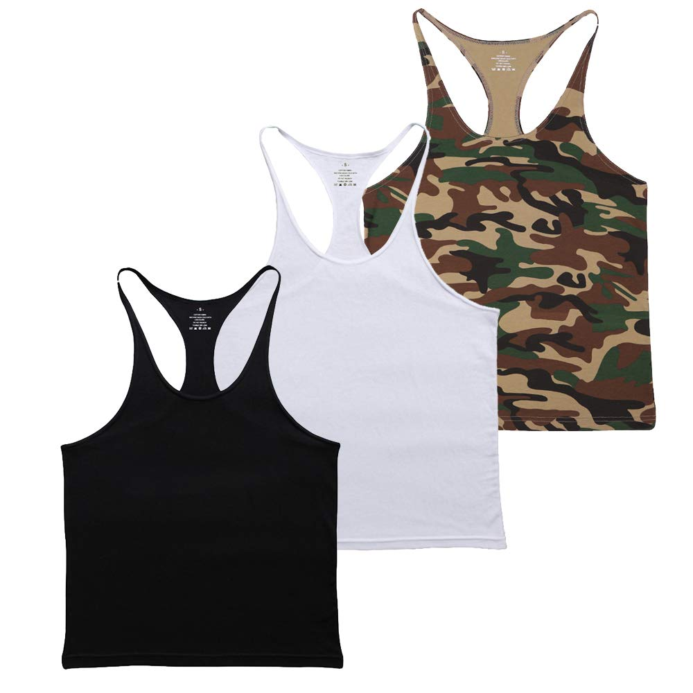 MUSCLE ALIVE Blank Bodybuilding Stringer Tank Tops Men Cotton Size S Black White Camo 3 Packs