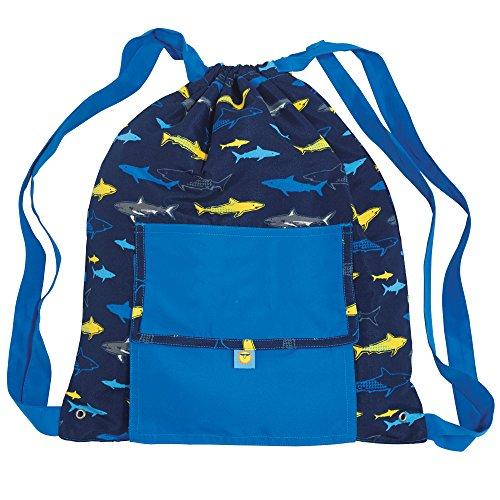 Sun Smarties Childrens Shark Lightweight Water Resistant Swim Bag Wet Bag  Blue Grey Yellow