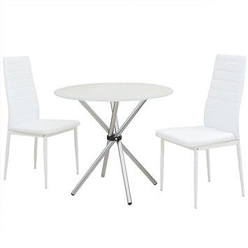 Perfekt Festnight 3 Tlg. Essgruppe Tisch Set Esstisch Mit 2 Stühlen Esszimmertisch  Küchenstuhl Weiß