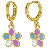 18k Gold Plated Enamel Dangle Flower Girls Hoop Earrings Kids 0.39