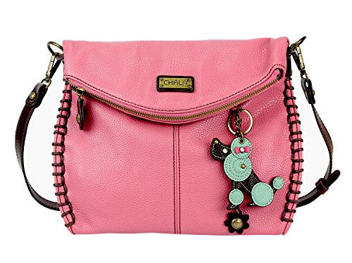Chala Crossbody Bag With Flap Top | Flap Zipper CrossBody Purse Or Shoulder Handbag With Metal Chain Pink