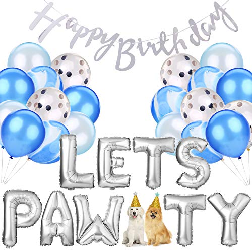 Legendog 33Pcs Dog Cat Birthday Party Supplies, Dog Girl or Boy Birthday Party Decorations, Lets Pawty Balloons Dog Cat Birthday Hat, Happy Pet Birthday Party Kit