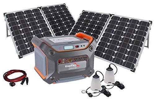 Powercenter Kit - Solar Generator Kit - 1230-Watt Enerplex Power Center with Extra Solar Power Using 2 Foldable 80-Watt Panels, 2 LED Lamps & more...