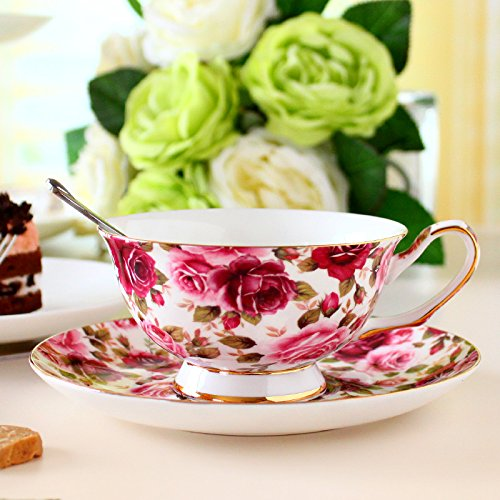 European-style coffee cup English afternoon tea cup bone China coffee cups and saucers,Red Rose